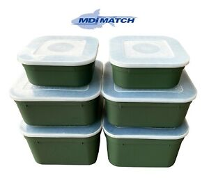 MDI Match 1.1, 2.2 & 3.3 Pint Fishing Green Maggot Bait Boxes + Lids Pack of 6
