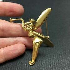 Vtg DISNEY Tinker Bell Pixie Brooch Pin Articulated Moving Wings Gold Ton DD190e