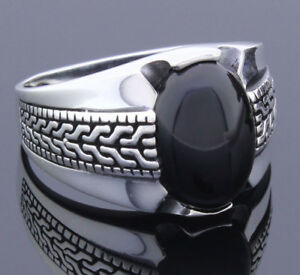 Solid-925-Sterling-Silver-Turkish-Handmade-Onyx-Stone-Men-039-s-Ring