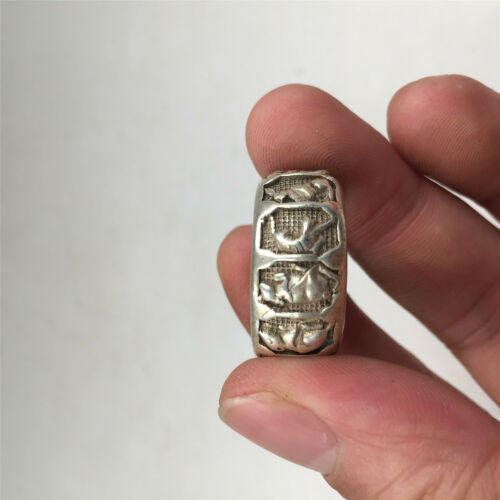 China old antique Tibetan silver Chinese 12 Zodiac dragon tiger 20mm ring