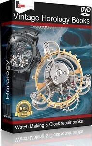 180-Vintage-Horology-Books-Watch-Making-Clock-Repair-Pocket-Key-History-DVD