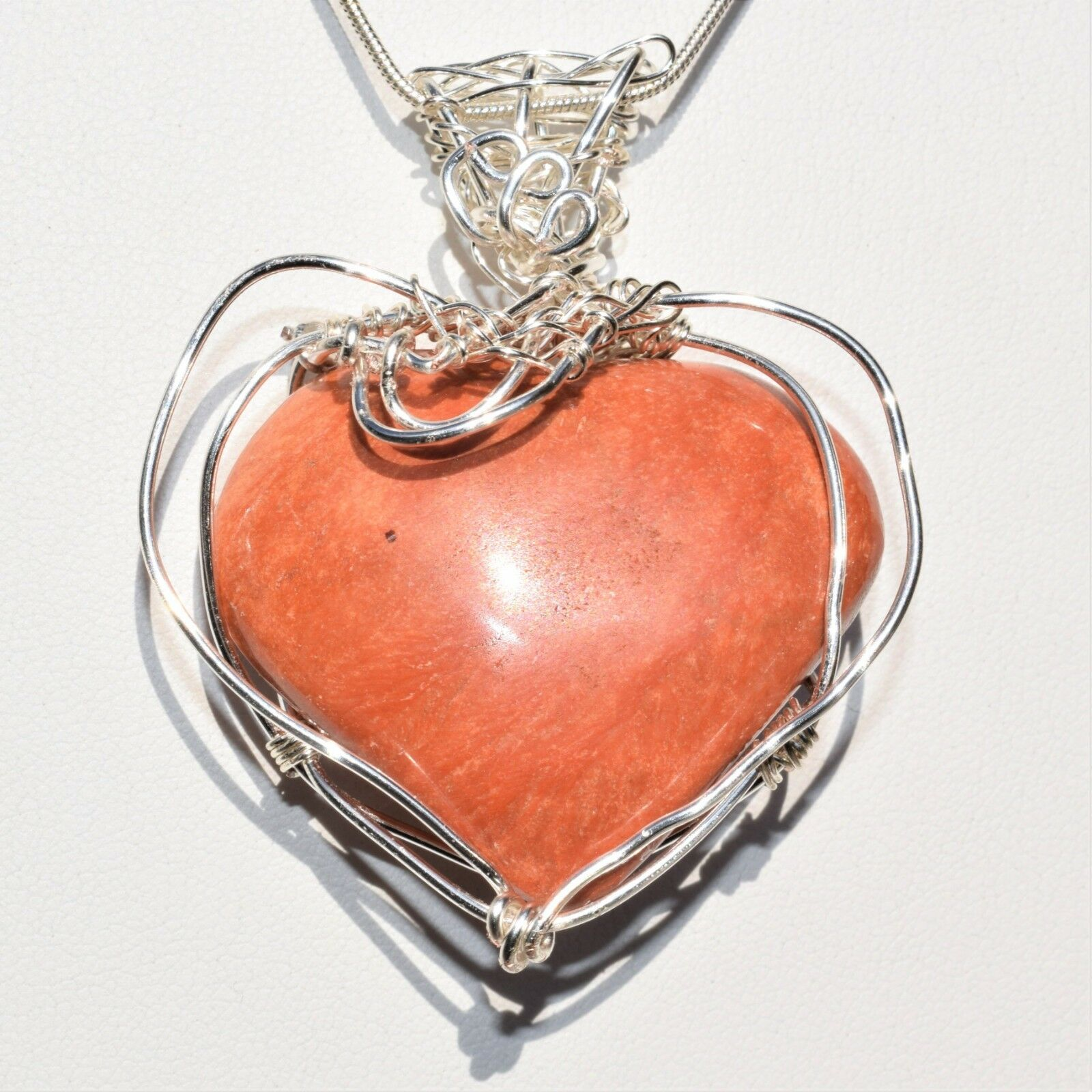 CHARGED REIKI Wrapped Red Sedona Jasper Heart Perfect Pendant™ + 20  Chain