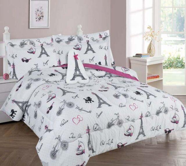 Mk Home 3pc Twin Size Sheet Set for Girls Paris Eiffel Tower Light Pink Grey New