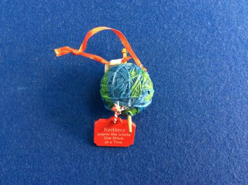 """Knitters warm the world one stitch at a time"" Hallmark ornament, New"