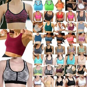 Womens Padded Sports Bra Tops Vest Gym Fitness Yoga Running Workout Seamless Top
