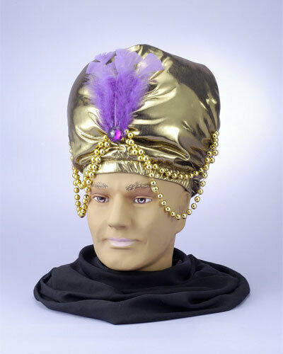 Gold Turban with Beads Gypsy Fortune Teller Costume Accessory Adult Size