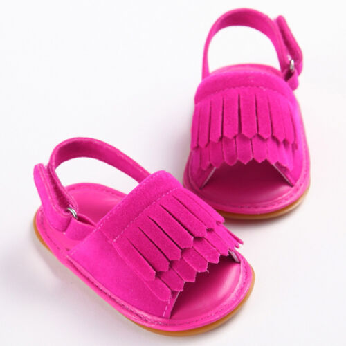 Toddler Newborn Baby Boy Girl Crib Shoes Soft Tassel Sandals Anti-slip Prewalker