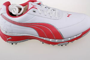 Puma-Faas-Trac-Golf-Shoes-Waterproof-Leather-3-9-1-2-inc-1-2-039-s-White-Pink-Silver