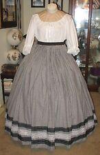 CIVIL WAR DRESS~VICTORIAN STYLE BLACK & WHITE GINGHAM SKIRT ---CUSTOM FIT