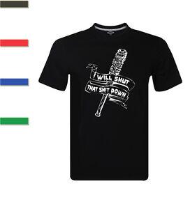 The-Walking-Dead-T-Shirt-Mens-Negan-039-s-Bat-Lucille-T-Shirt-I-Will-Shut-That-Down