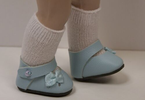 """Debs LT BLUE Sidebow Ribbon Side Bow Doll Shoes For 8/"""" Vogue VINTAGE Ginny"""