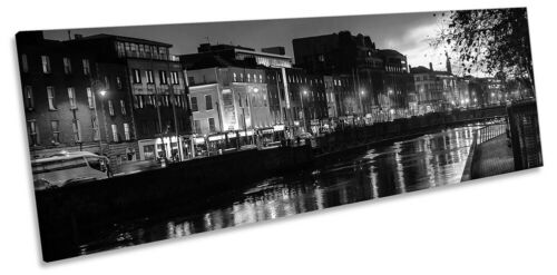 Dublin Liffey River City Print PANORAMA CANVAS WALL ART Picture Black /& White