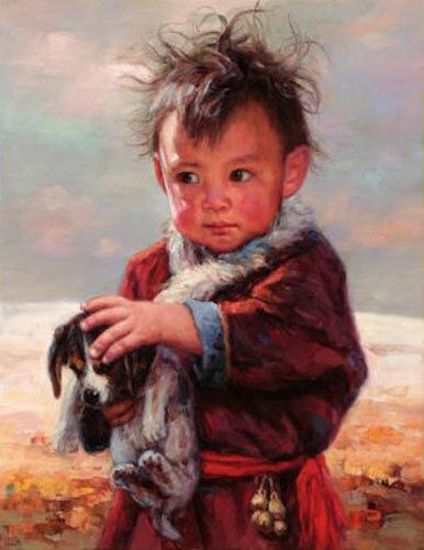 CHENPAT360 lovely little boy handing dog art hand-painted oil painting canvas