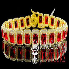 Mens Ladies Yellow Gold Sterling Silver Lab Simulated Royal Ruby Red Bracelet