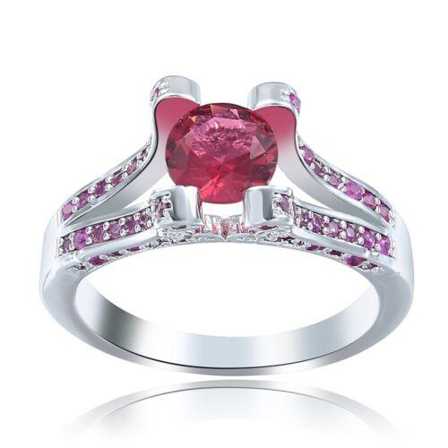 Women Fashion 925 Silver Ruby Ring Wedding Engagement Proposal Jewelry