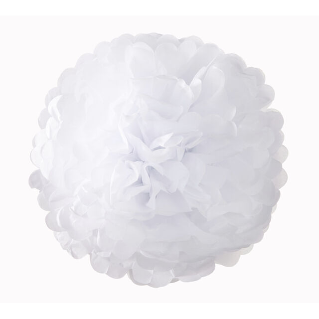 3 Tissue Paper Pom Pom Party Hanging Wedding Decoration in White