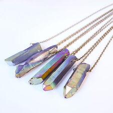 Arcobaleno Aura Crystal Bullet Grigio sabbia collana-Vintage BRONZO Boho-quarzo
