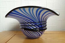 MURANO ART GLASS HAT/BOWL - BLUE & WHITE WITH BLACK GLASS SWIRLS