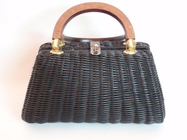 Vintage Black Coated Wicker Magid Purse Handbag Double Wood Handles Toggle Close