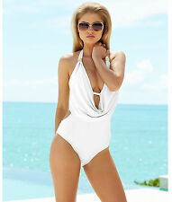 Bar III White Draped Halter Monokini One Piece Swimsuit XS Extra Small $88