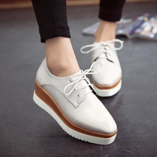 Ladies Square Toe Lace Up Platform Wedge Creeper Oxfords Mid Heel Shoes Fashion