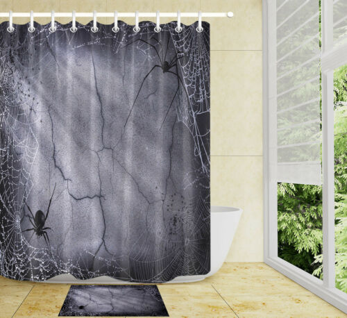 """60//72/"""" Spider and Net on Gray Cracked Wall Shower Curtain Set Bathroom Bath Mat"""
