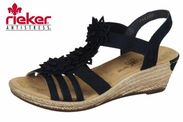 Rieker Sandalette Keilabsatz Schwarz Schuhe 62461-00