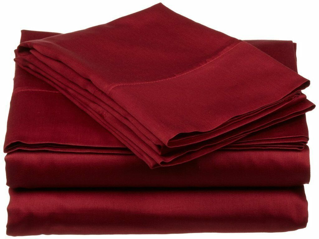 Branded Bedding Items 100% Cotton 800-TC Burgundy Solid  All USA Size Available