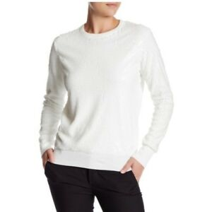 NWT-Equipment-Femme-Sequin-Sweater-Shane-Crewneck-Pullover-White-398-S-LAST