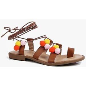 Eu37 Bebo Sandals Lydia ventes 15 Lg03 Toe Uk4 Boohoo Loop Pom Tie Up SqzpCwR