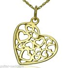 Solid 9ct Gold Filigree Heart Pendant Charm & Necklace Chain Jewellery Gift Set