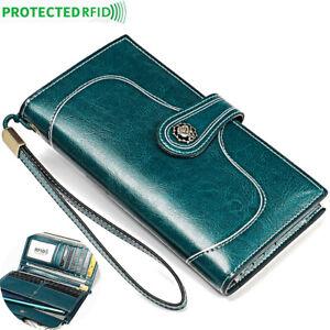 Genuine-Leather-Women-039-s-Long-Clutch-wallet-RFID-Blocking-ID-Card-Holder-Vintage