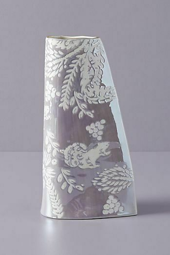 Anthropologie Vase HOLLY Flowers Woodland Handpainted Lilac Gold Stoneware NWT