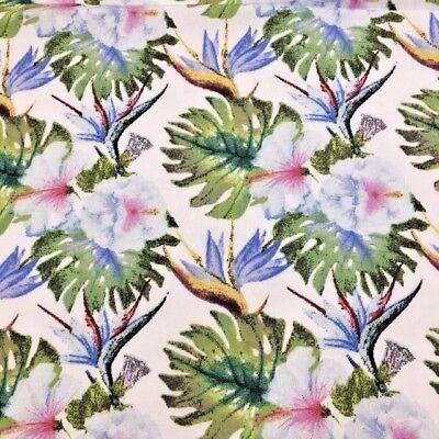 Hibiscus Price per 1//2 metre Bird of paradise flowers 100/% Cotton Fabric