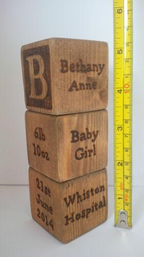 Personalised Newborn Baby Boy Girl Gift 6 Wooden Blocks Present Christening Love
