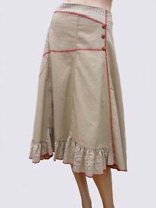 Jupe-RIU-T-40-L-3-Beige-Ample-Mi-mollet-Poche-Volant-Surpiqures-Skirt-Rock-falda