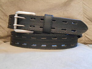 0cc4e16b4cdb Danbury Mens Black Leather Belt With Double Hole Strap and Roller ...