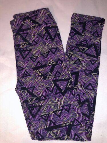 BoxII LuLaRoe Kids Leggings L//XL New Purple Black White Striped Triangles