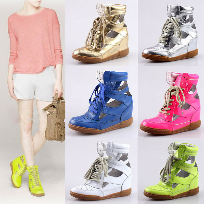 High Top Trainers Femme Leather Hidden Wedge Heel Cut Out Lace Up Sneakers z1