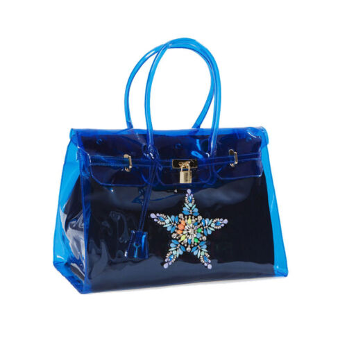 170-NAVY Shop Art BORSA BAG IN PVC CON APPLICAZIONI Blu mod
