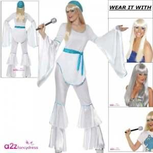 Womens 70s Super Trooper Retro Flares Disco Adult Fancy Dress Costume Wig