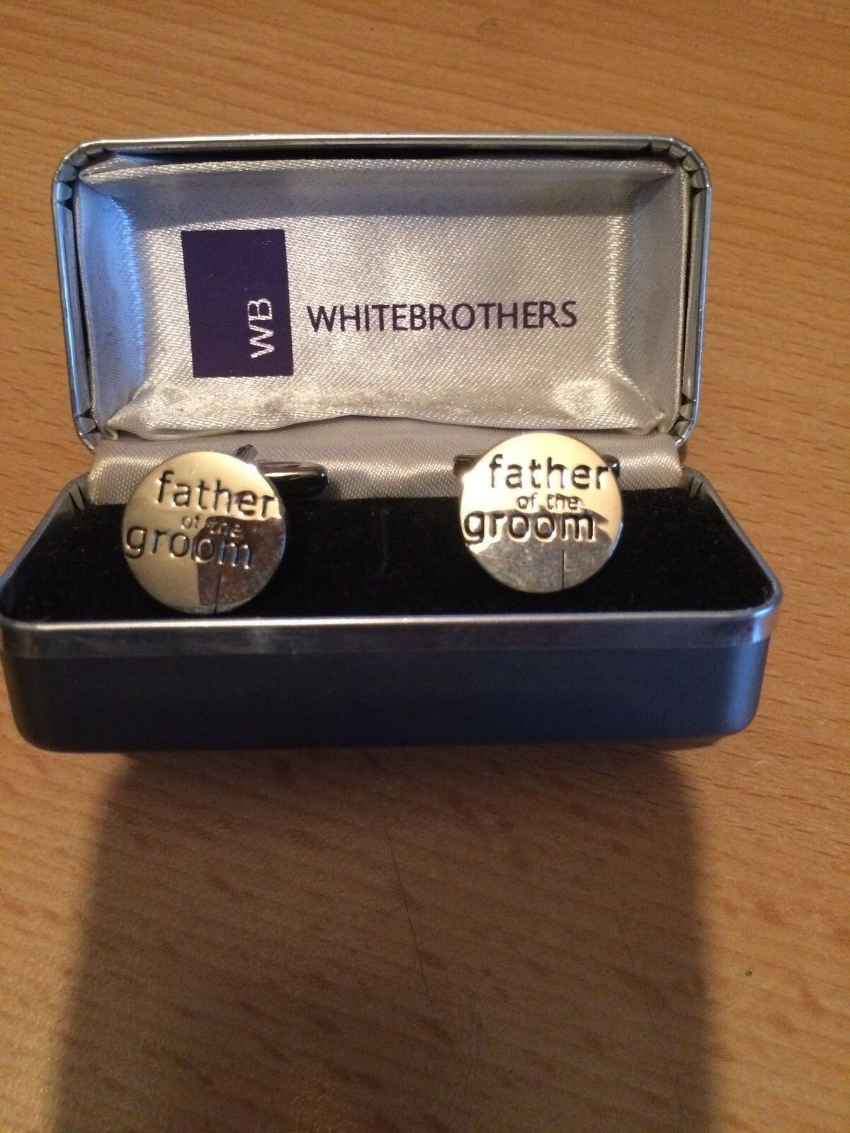 Cuff Links Father of the Groom Silver Colour Ex display , FREE UK POSTAGE .
