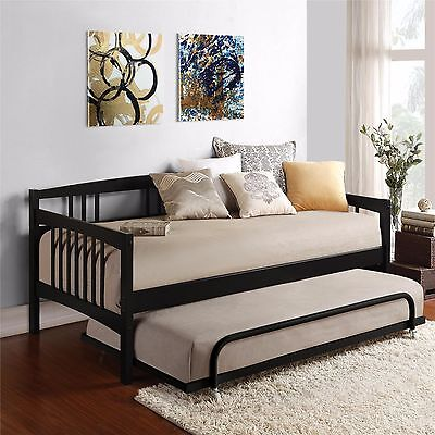 Black Twin Size Wood Day Bed Metal Trundle Home Living