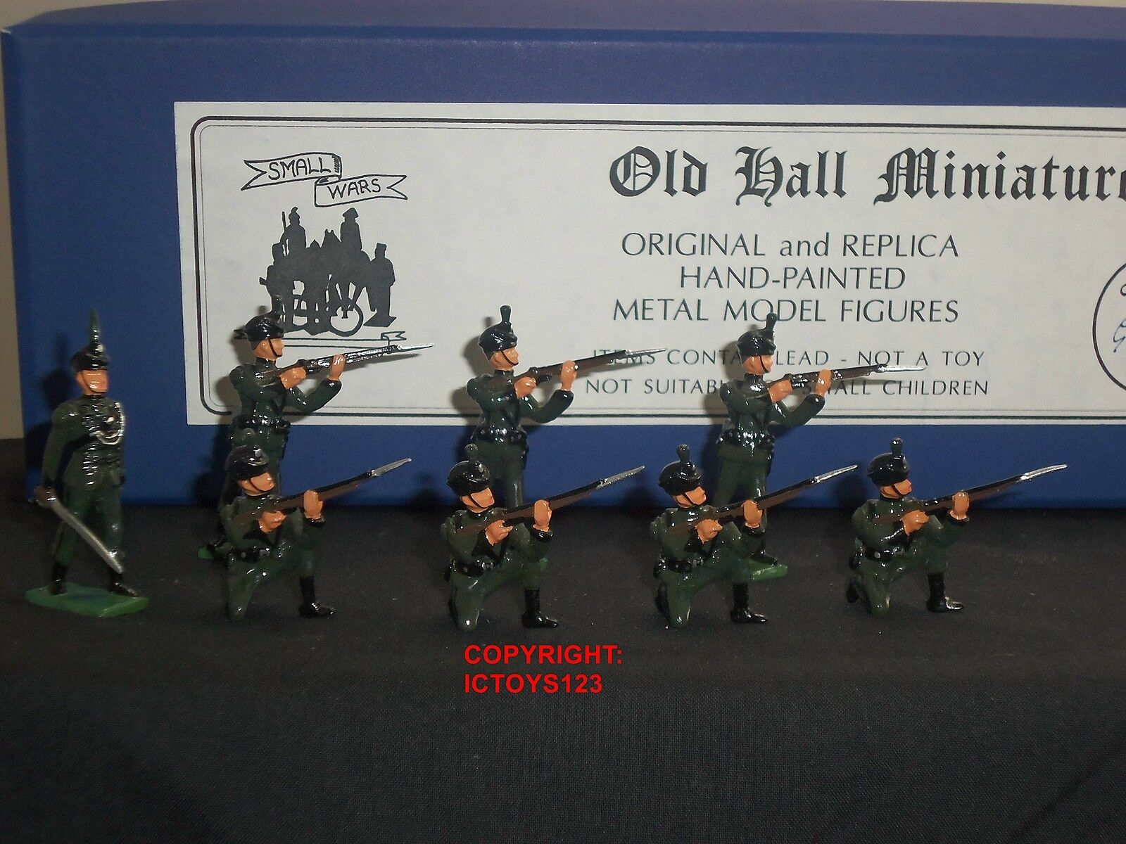 OLD HALL MINIATURES BRITISH RIFLE BRIGADE INFANTRY METAL TOY SOLDIER FIGURE SET