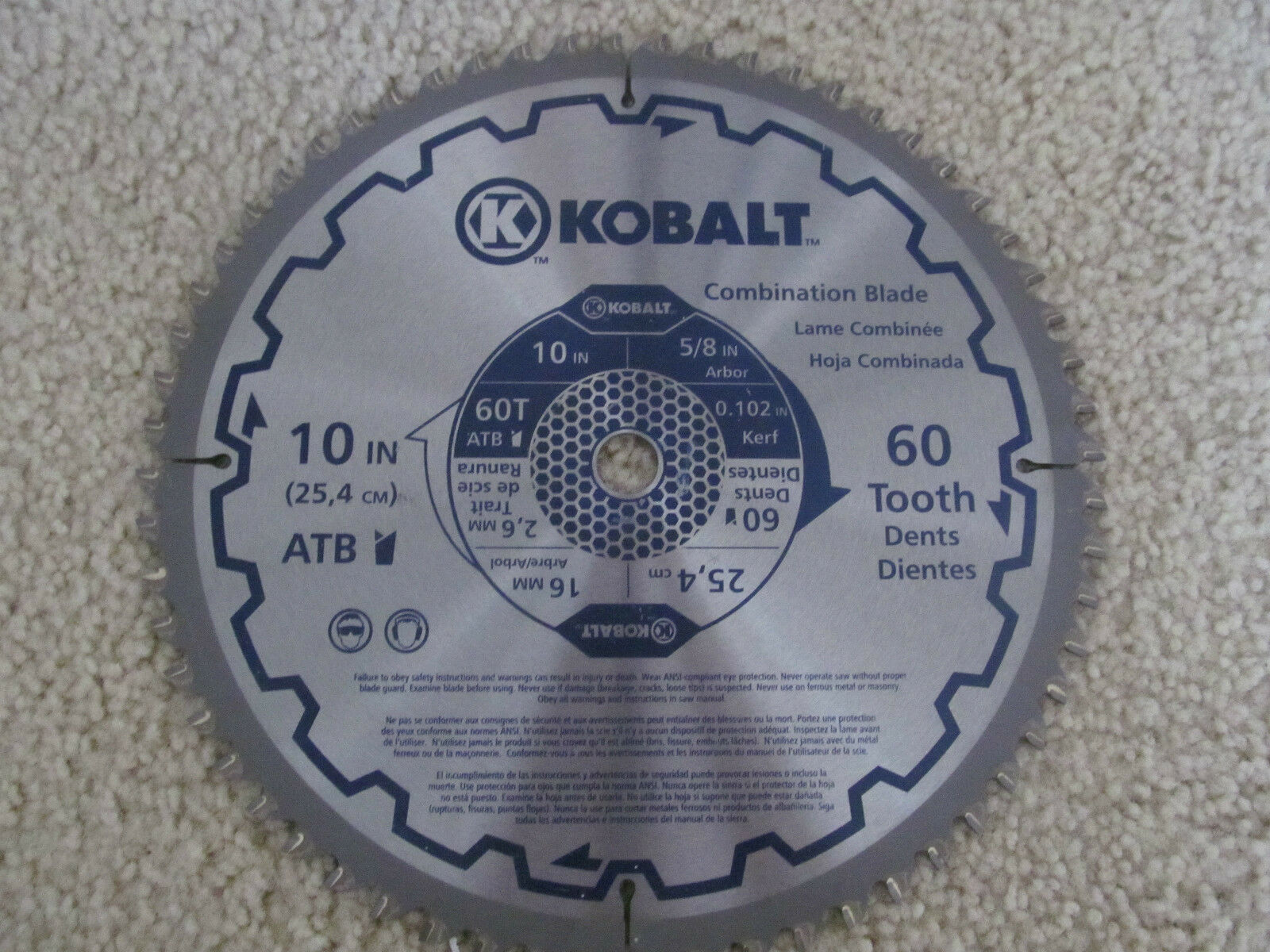 Kobalt Combination Circular Saw Blade 10 inch  60 Tooth Dents  25,4 cm  5 8