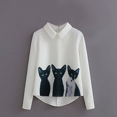 3 Cats Blending Blouse Long Sleeve Turn Down Collar Tops  Summer Women Blouses