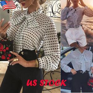 Women-039-s-Bow-Neck-Polka-Dot-Shirt-Ladies-Casual-Long-Sleeve-Blouse-Loose-Tee-Tops