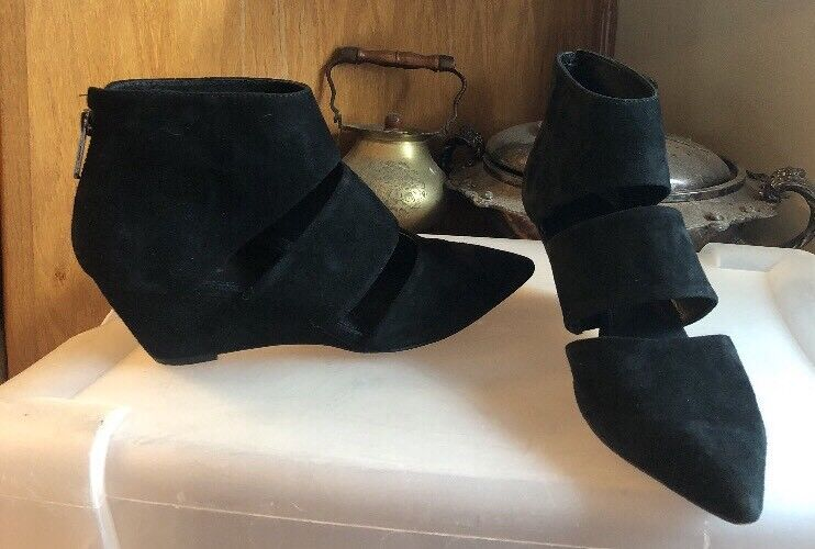 Belle By Sigerson Morrison Suede Suede Suede Vero Cuoio  Pointy Toe Wedge Booties Sz 8 025c69