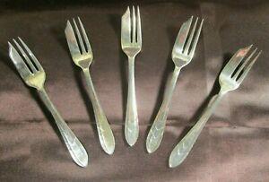MS Ltd EPNS Sheffield England Vintage Silverplate Pastry Oyster Forks Set of 5