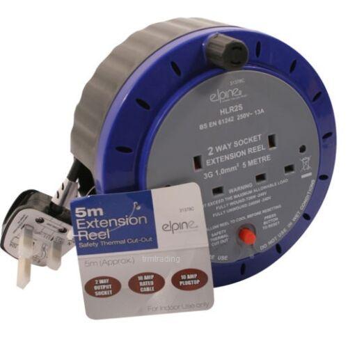 2 gang Extension de 5M Bobines Câble plomb d/'énergie électrique sur secteur plug2 gang 5m